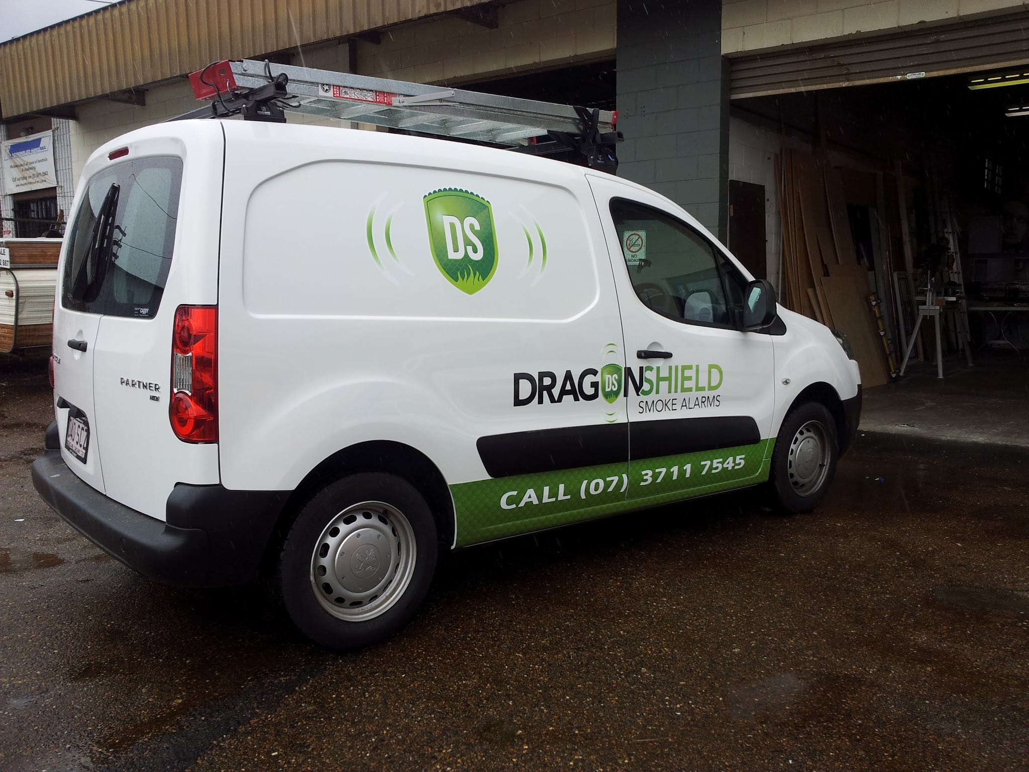 Dragon Shield Smoke Alarms Vehicle Signage