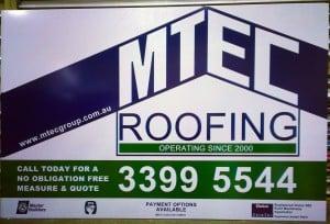 Aluminium Signage for MTEC Roofing - Brisbane