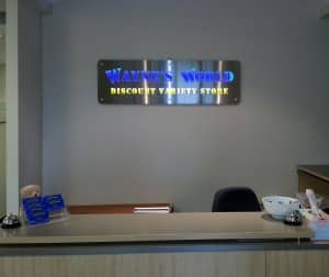 Water Jet Cut Reception Sign with Coloured Acrylic Back and LED Back Lighting