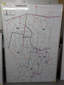Whiteboard with Printed Map